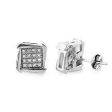 Load image into Gallery viewer, Designer Diamond Stud Earrings in Sterling Silver