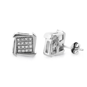 Designer Diamond Stud Earrings in Sterling Silver