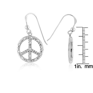 0.25 Carat Diamond Peace Sign Dangle Earrings in Sterling Silver