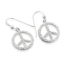 Load image into Gallery viewer, 0.25 Carat Diamond Peace Sign Dangle Earrings in Sterling Silver
