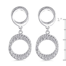 Load image into Gallery viewer, Sterling Silver Circle Diamond Earrings