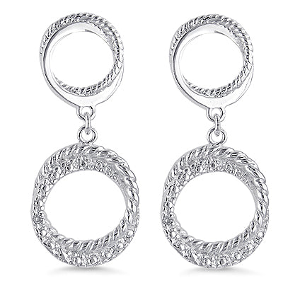 Sterling Silver Circle Diamond Earrings