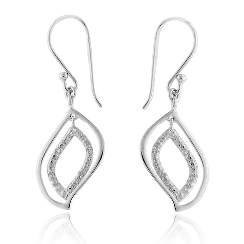 Diamond Leaf Dangle Earrings in Sterling Silver