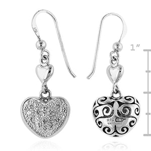 Sterling Silver Diamond Accented Heart Earrings