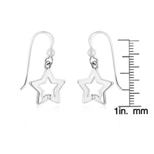 Load image into Gallery viewer, Sterling Silver Diamond Polished Star Earrings