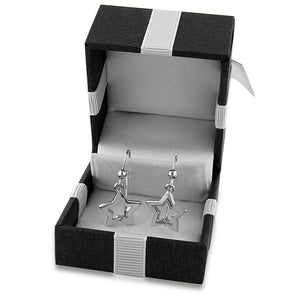 Sterling Silver Diamond Polished Star Earrings