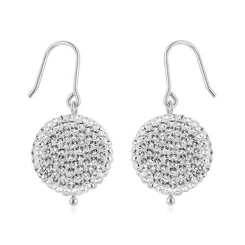 Sterling Silver Circle Clear Crystal Drop Earrings