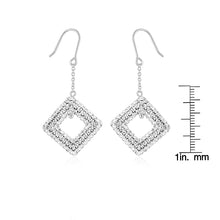 Load image into Gallery viewer, Sterling Silver Diamond Shape Clear Crystal Drop Earrings