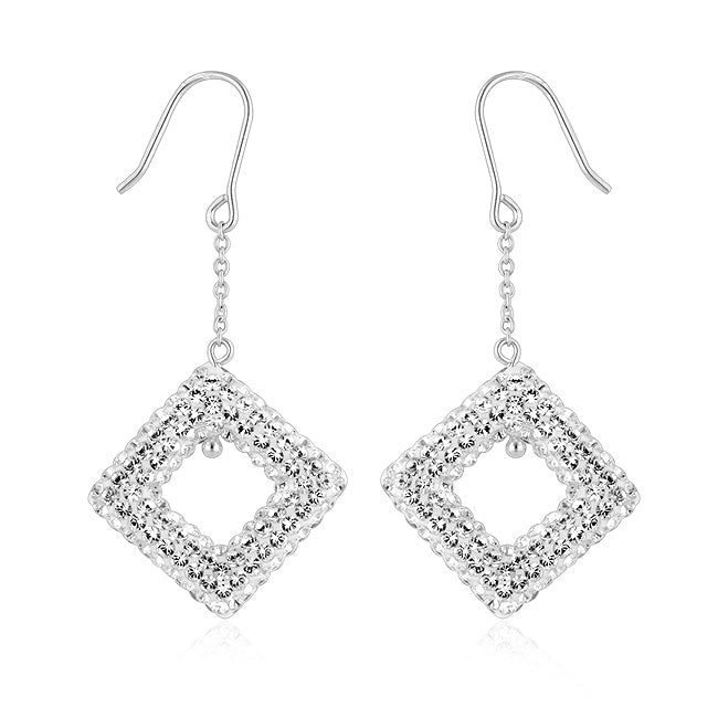Sterling Silver Diamond Shape Clear Crystal Drop Earrings