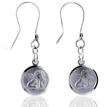 "Load image into Gallery viewer, Sterling Silver Satin Shiny ""Cherub"" Dangle Earrings"