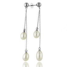 Load image into Gallery viewer, Pearl Dangling Drop Stainless Steel Earrings