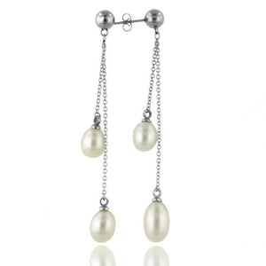 Pearl Dangling Drop Stainless Steel Earrings