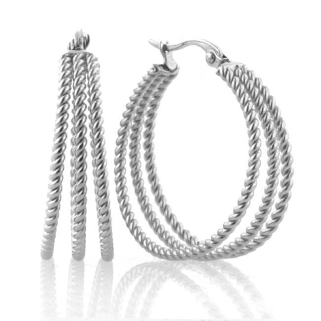 Stainless Steel Twisted Hoop Earrings