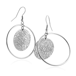 Stainless Steel Textured Dangle Earrings