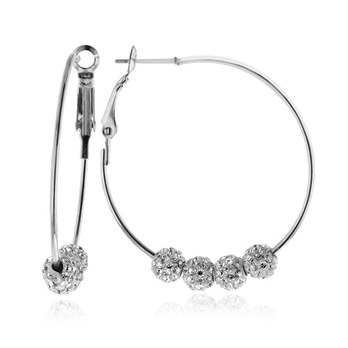 White Crystal Beaded Hoop Earrings in Stainless Steel