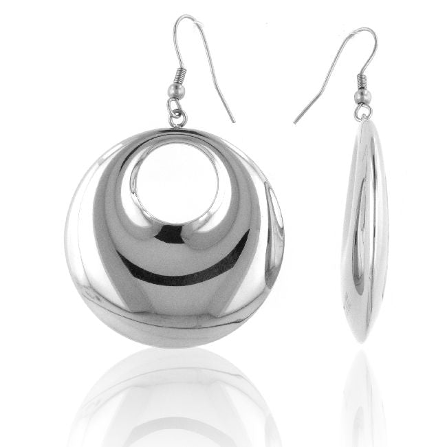 Stainless Steel Polished Circle Earrings