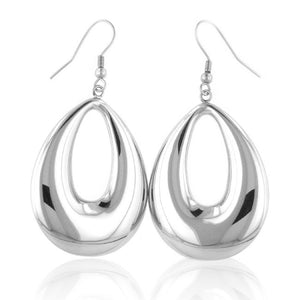 Stainless Steel Polished Drop Earrings