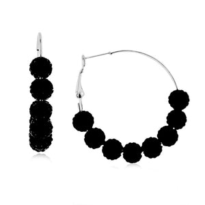 Black Crystal Beaded Hoop Earrings in Stainless Steel