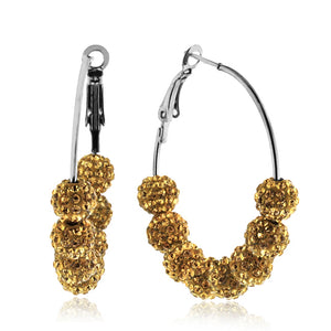Champagne Crystal Beaded Hoop Earrings in Stainless Steel