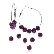 Load image into Gallery viewer, Purple Crystal Beaded Hoop Earrings in Stainless Steel