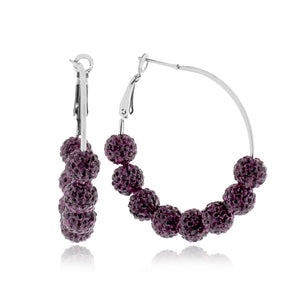 Purple Crystal Beaded Hoop Earrings in Stainless Steel