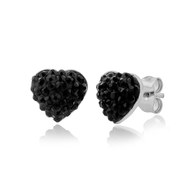 Black Crystal Heart Stud Earrings in Stainless Steel