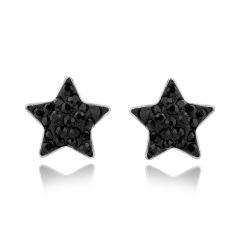 Black Star Crystal Stainless Steel Stud Earrings