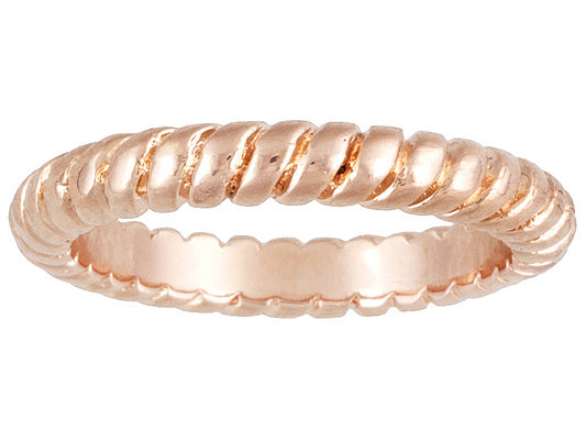 Swirl Design 18k Rose Gold Over Bronze Stackable