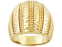 Load image into Gallery viewer, Diamond Cut Bead Design 18k Yellow Gold Over Bronze Ring