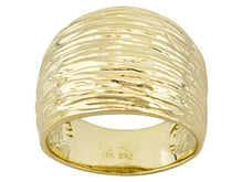 Load image into Gallery viewer, Fancy Textured 18k Yellow Gold Over Bronze Ring