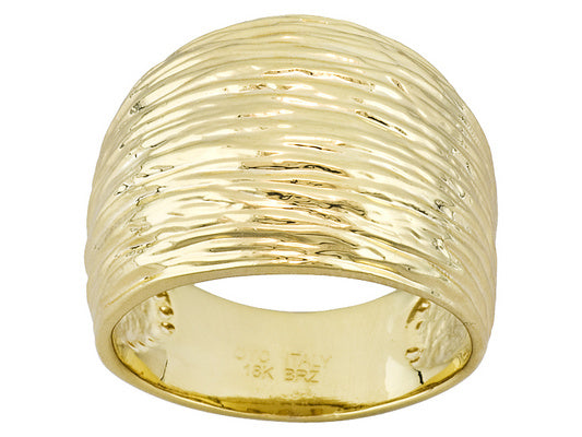 Fancy Textured 18k Yellow Gold Over Bronze Ring
