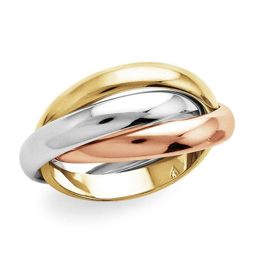 Interlocking Trio Gold over Bronze Ring