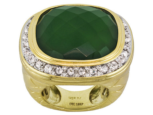 Green Chalcedony With White Topaz 18k Yg Over Bronze Ring
