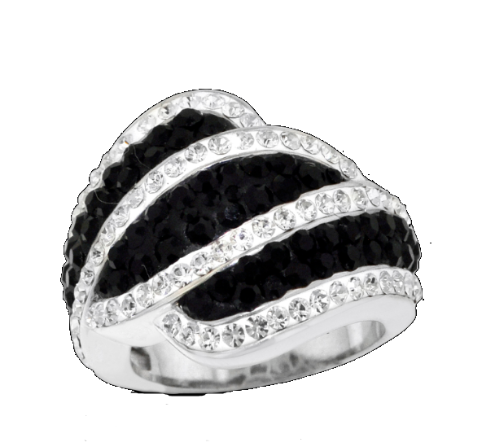 Platinum Over Bronze black Crystal Wavy Stripe Ring