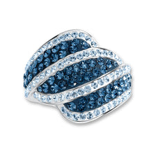 Load image into Gallery viewer, Platinum Over Bronze Blue Crystal Wavy Stripe Ring