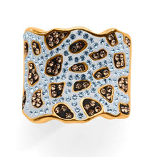 Load image into Gallery viewer, Gold over Bronze Brown and White Crystal Animal Design Ring