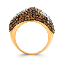 Load image into Gallery viewer, Gold over Bronze Crystal Horn Ring