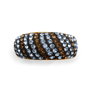 Gold over Bronze Crystal Stripe Ring