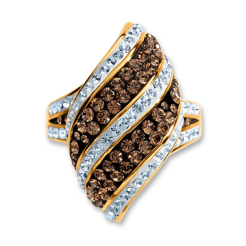 Chocolate Elegance  Gold over Bronze Crystal Kite Stripe Ring