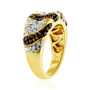 Yellow Gold Over Bronze Crystal Safari Ring
