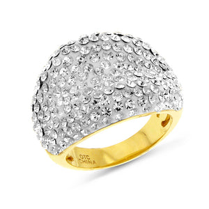 Yellow Gold Over Bronze White Crystal Ring