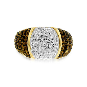 Smoky Topaz & White Crystal Ring in Gold over Bronze
