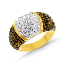 Load image into Gallery viewer, Smoky Topaz & White Crystal Ring in Gold over Bronze
