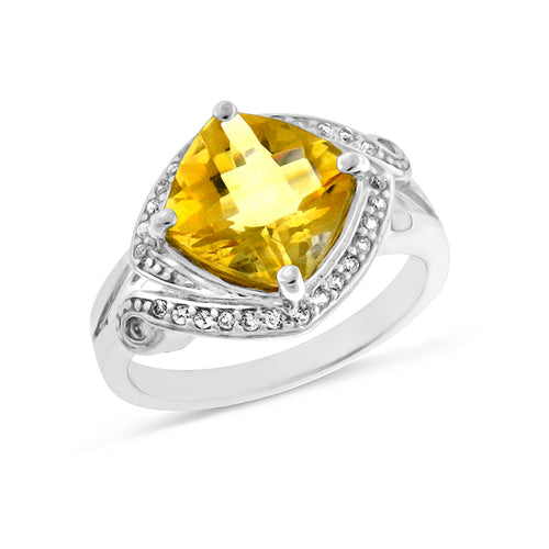 4.50 Carat tw Citrine & Sapphire Ring in Sterling Silver