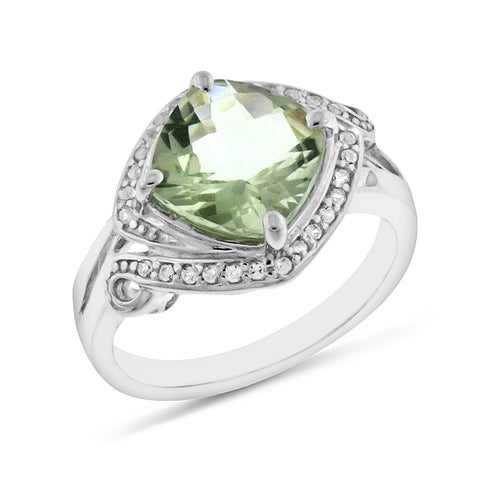 4.50 Carat tw Green Amethyst & Sapphire Ring in Sterling Silver