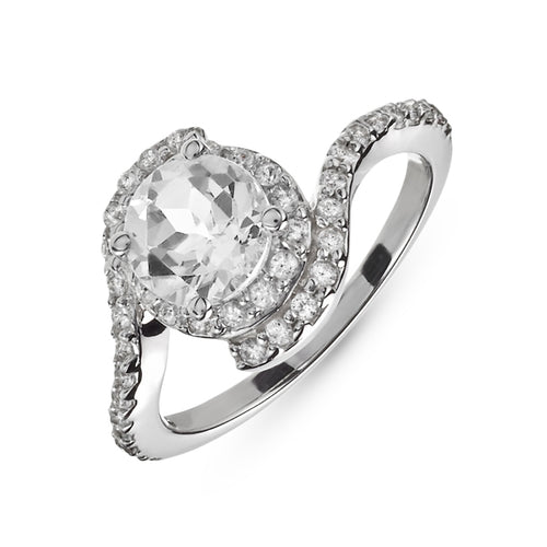 1.60 Carat tw White Topaz & White Sapphire Ring in Sterling Silver