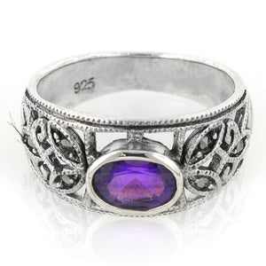 Sterling Silver Oval Amethyst Filigree Ring Size 5.5