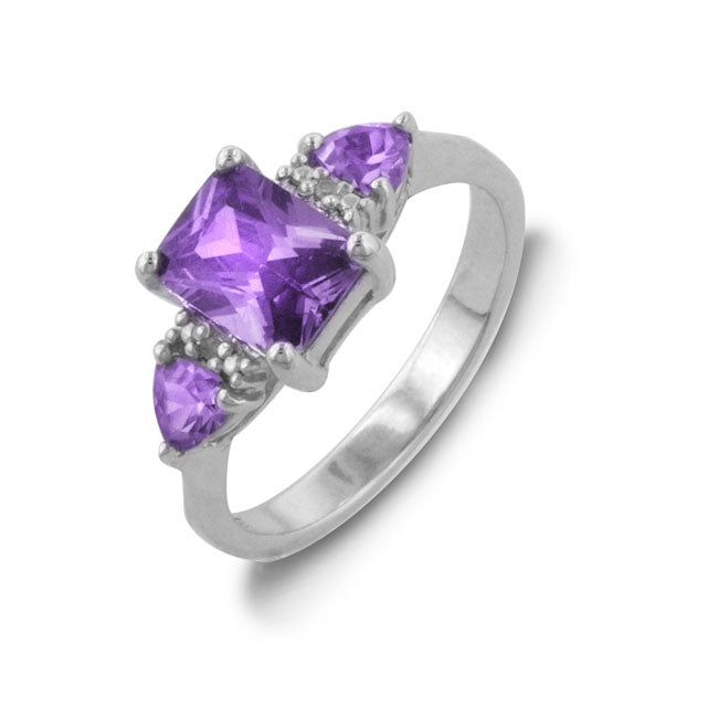 2.5 Carat tw Amethyst & Diamond Three Stone Ring in Sterling Silver