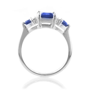 2.50 Carat tw Blue Sapphire & Diamond Three Stone Ring in Sterling Silver