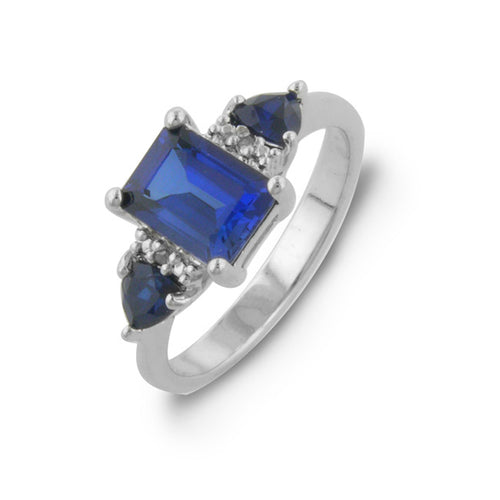 2.5 Carat tw Blue Sapphire & Diamond Three Stone Ring in Sterling Silver